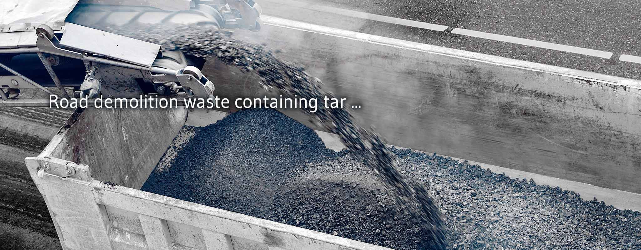 Ecological recycling alternatives for tar contaminated road rubble
